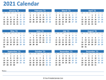 2021 Yearly Calendar with Holidays (Horizontal Layout)