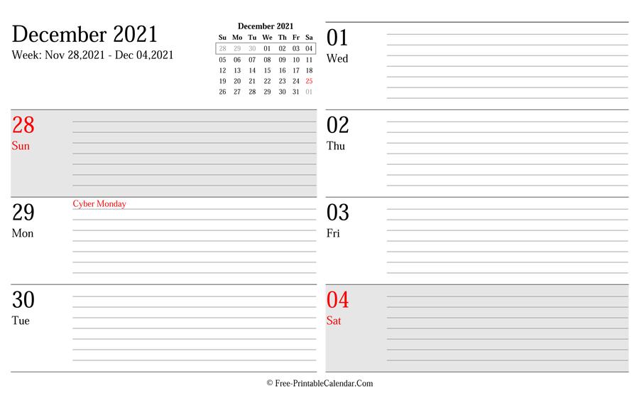 2021 Weekly Calendar Planner