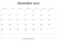 December 2022 Calendar Templates