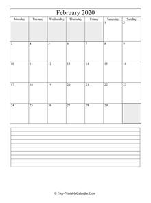Horazontal February 2020 Calendar February 2020 Calendar (Horizontal Layout)