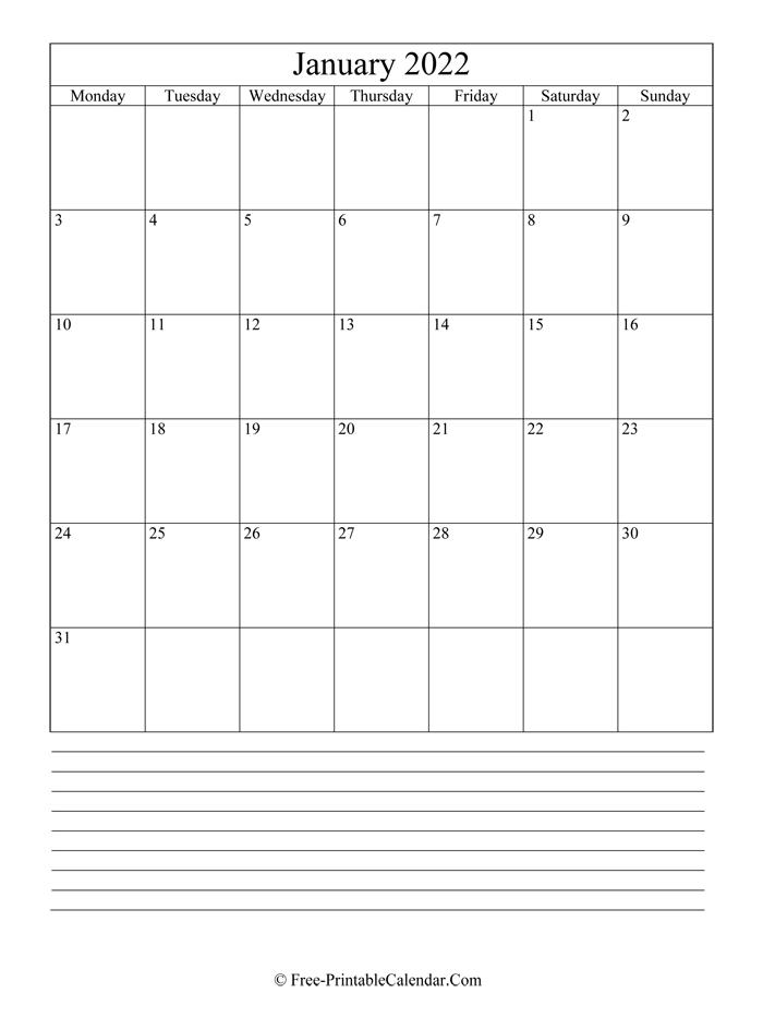 January 2022 Editable Calendar With Notes